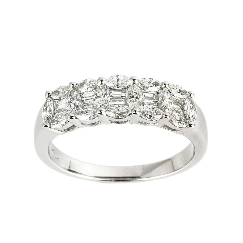 18WG Diamond Half Eternity Ring 0.92TDW